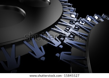 Peoples in corporation mechanism. Teamwork, connection concept. 3d gears.