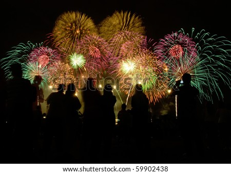 peoples in silhouette enjoy watching firework show