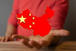 Peoples Republic of China Flag in Map 3d Illustration.