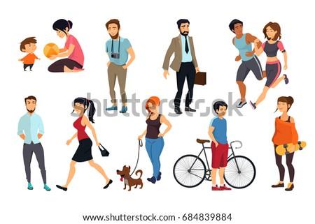 Peoples walking on street. illustrations set