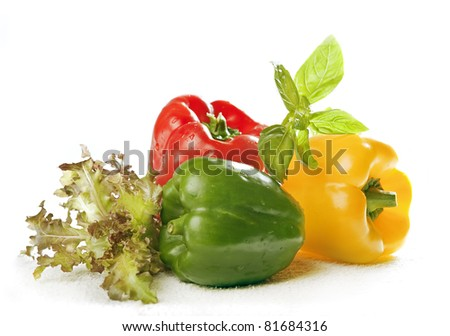pepper and green isolated - stock photo