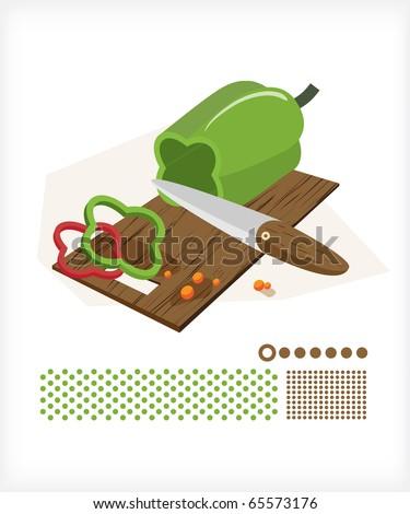 Pepper cut on a cutting board knife.