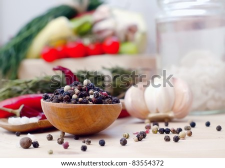 pepper in spoon - stock photo