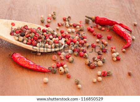 Pepper mix and chili peppers