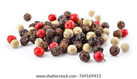 Pepper mix. Black, red and white peppercorns isolated on white. Full depth of field. Stock photo ©