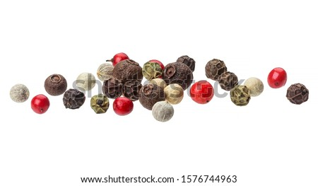 Pepper mix. Heap of black, red, white and allspice peppercorns isolated on white background, close up Stock photo ©