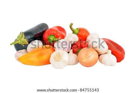 Pepper, onion, garlic and eggplant, isolated on white background