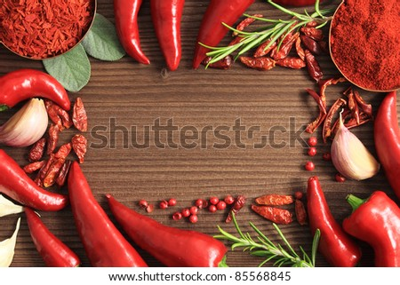 Pepper spices selection. Food ingredients and aromatic additives.