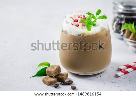 Peppermint mocha. Selective focus, space for text. #1489816154
