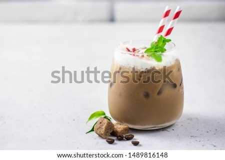 Peppermint white chocolate eggnog mocha. Selective focus, space for text. #1489816148