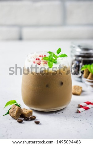 Peppermint white chocolate eggnog mocha. Selective focus, space for text. #1495094483