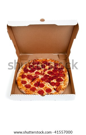 Pepperoni pizza in a box on a white background