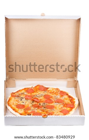 pepperoni pizza in open paper box on white background