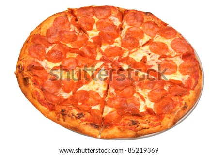 Pepperoni pizza isolated on a white background