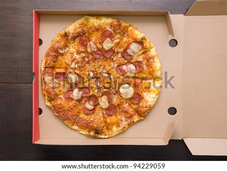 Pepperoni Pizza shot in the pizza box, you can put your writing on the box