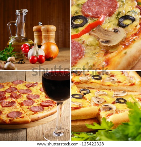 Pepperoni pizza with ingredients and wineglass set