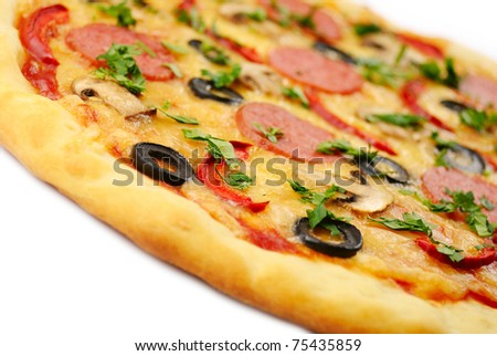 Pepperoni pizza with mushrooms, shrimps and olives over white background