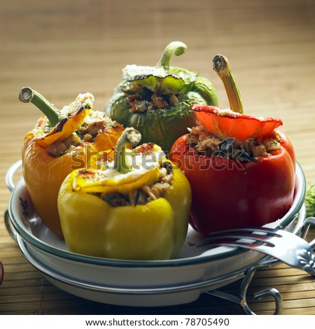 peppers filled with rice and chicken meat