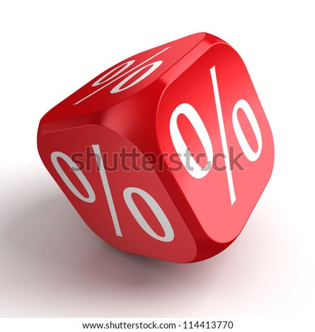 per cent conceptual red dice on white background. clipping path included