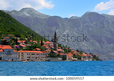 Perast town in Kotor bay, Montenegro - stock photo