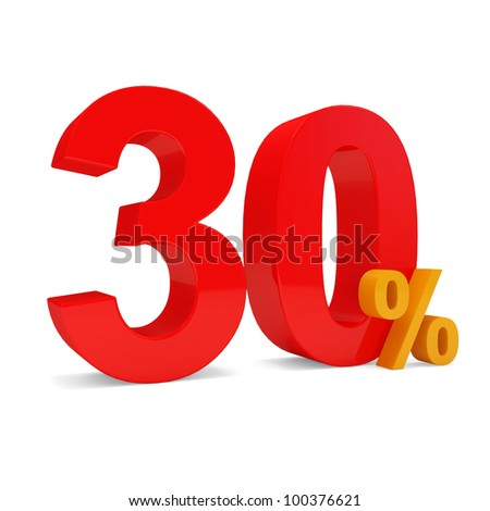 Percent Discount 30% isolated on white background