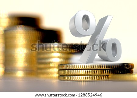 Percent sign on a background of money . The concept of changes in Bank interest rates .