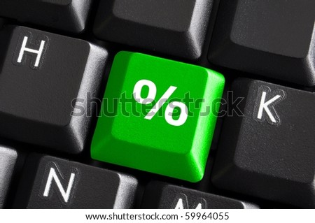 percent sign on computer keyboard showing discount concept - stock photo