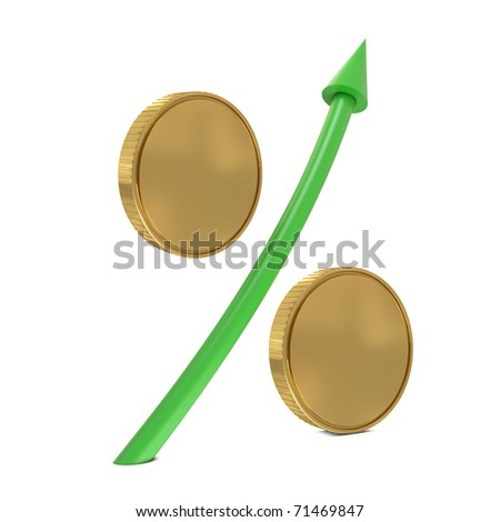 Percent sign with golden coins and green arrow isolated on white