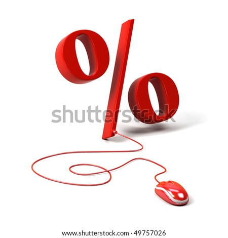 Percent symbol connected to a computer mouse. 3d image.