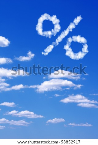 Percent symbol  from white clouds