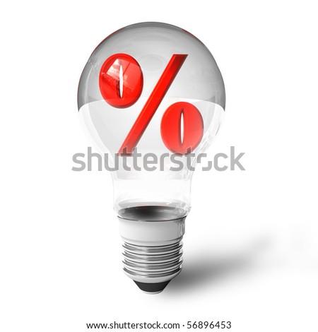 Percent symbol in lightbulb - stock photo