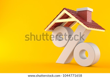 Percent symbol with house roof isolated on orange background. 3d illustration