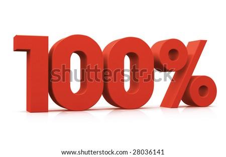 Percentage, 100% - stock photo