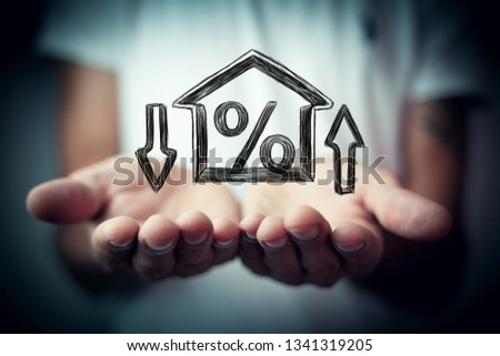 Percentage and house sign symbol icon #1341319205