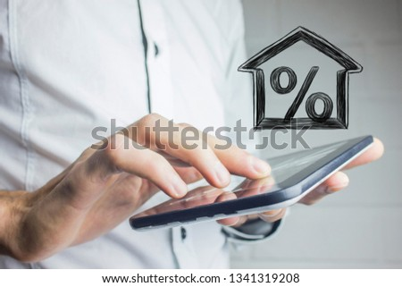 Percentage and house sign symbol icon #1341319208