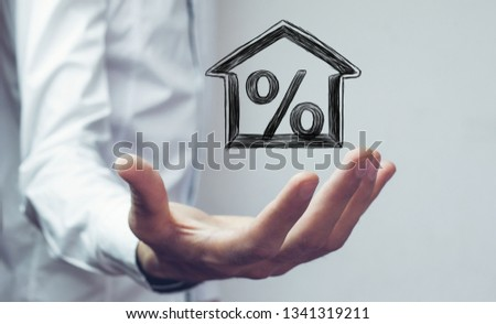 Percentage and house sign symbol icon #1341319211
