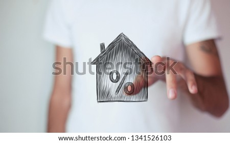 Percentage and house sign symbol icon #1341526103