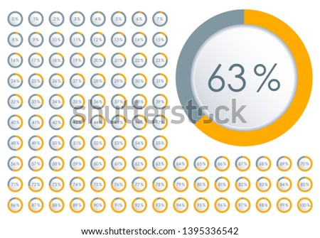 Percentage diagram set. Circle Pie Chart from 1 to 100 percent. Design element for infographic, UI, web design, business presentation. Progress bar template.