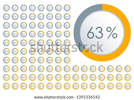 Percentage diagram set. Circle Pie Chart from 1 to 100 percent. Design element for infographic, UI, web design, business presentation. Progress bar template.