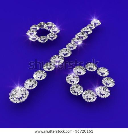 Percentage discount shape 3d diamond art illustration