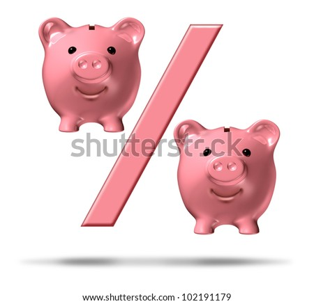 Percentage piggy bank symbol with a percent sign and pink savings pigs as representations in the financial icon representing interest rates and the business of lending and loans on white.