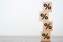 Percentage Sign on wooden cubes with copy space