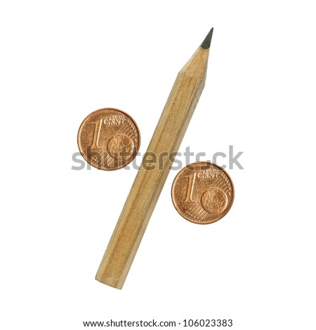 percentage sign, pencil and euro coins