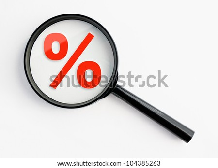 percentage sign under a magnifying glass, with isolated background