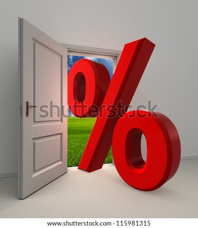 percentage  symbol and white open door with field and sky background
