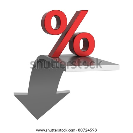 Percentage symbol with an arrow down