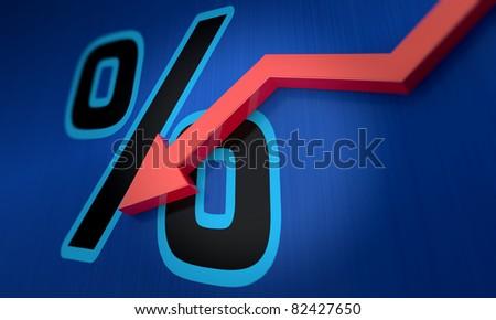 Percentage symbol with an arrow down