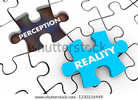 Perception Vs Reality Puzzle Pieces 3d Illustration