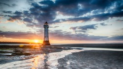 Perch Rock Lighthouse Sunset - New Brighton Wirral Merseyside UK