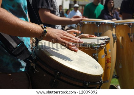 """Percussionists playing drums; """"Earth Day"""" celebration; Balboa Park; San Diego, California"""
